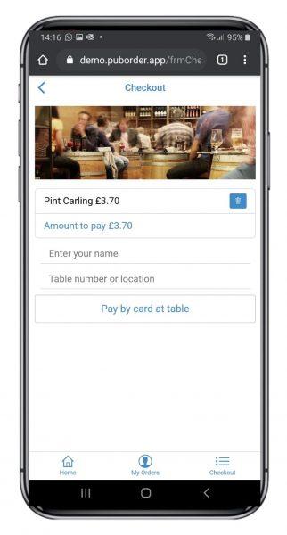 free pub order app - checkout